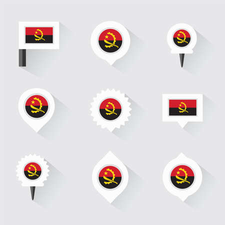 esp: Angola flag and pins for infographic, and map design Illustration