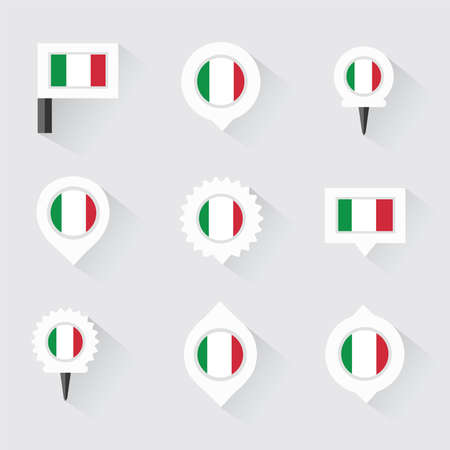 esp: Italy flag and pins for infographic, and map design