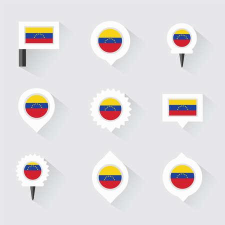 bandera de venezuela: bandera de Venezuela y pines para infografía y diseño de mapas
