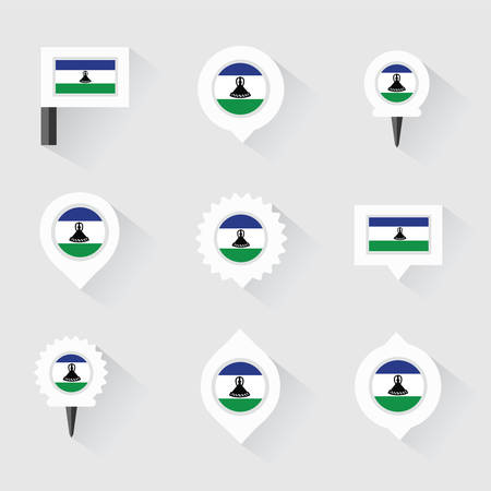 lesotho: Lesotho flag and pins for infographic, and map design