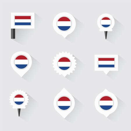 netherlands flag: netherlands flag and pins for infographic, and map design Illustration