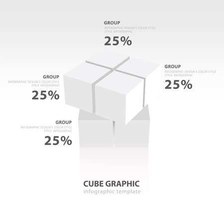 color balance: swivel cube infographic template  white color balance