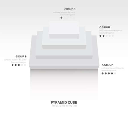 color balance: pyramid cube  infographic top view white color balance Illustration
