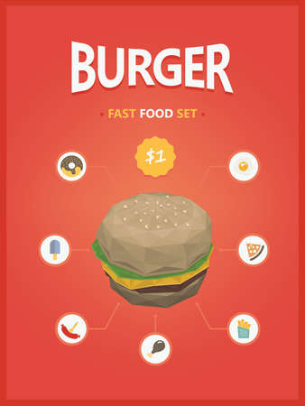 hot chick: Burger fast foods set polygon style
