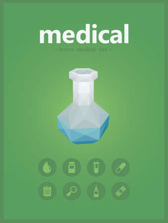 vitro: iconos midical establecidos con estilo pol�gono vitro Vectores