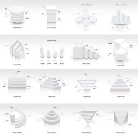 commercial building: White infographic 3d Graph template Vector Illustration