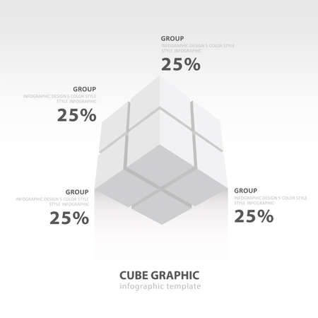color balance: cube infographic template bottom view  white color balance