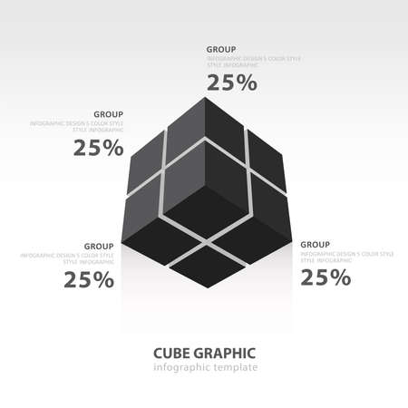color balance: cube infographic template bottom view  black color balance