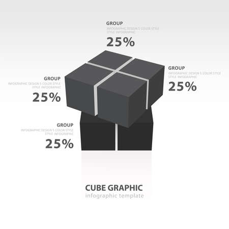 color balance: swivel cube infographic template  black color balance