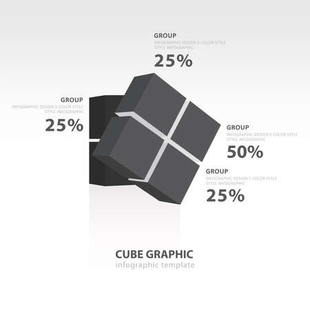 color balance: rotate cube infographic template  black color balance