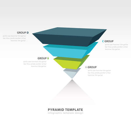 upside down: pyramid upside down infographic template 4 color