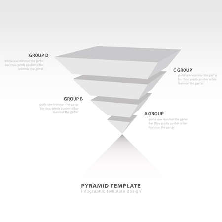 upside: pyramid upside down infographic template white color balance Illustration