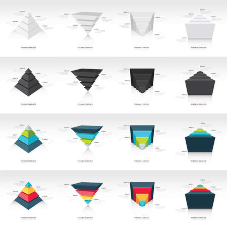 upside down: pyramid upside down infographic template set 16 in 1 Illustration