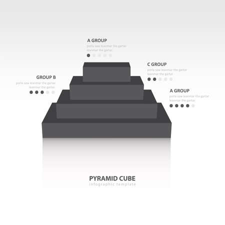 color balance: Business Infographics pyramid cube black color balance
