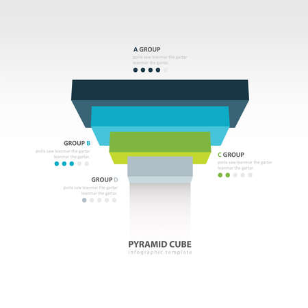 upside: pyramid cube upside down infographic template