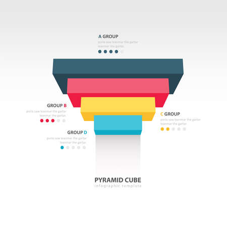 upside: pyramid cube upside down infographic template 4 color Illustration