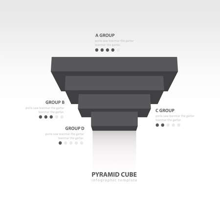color balance: pyramid cube upside down infographic template  black color balance Illustration