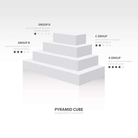 color balance: pyramid cube  infographic side view white color balance