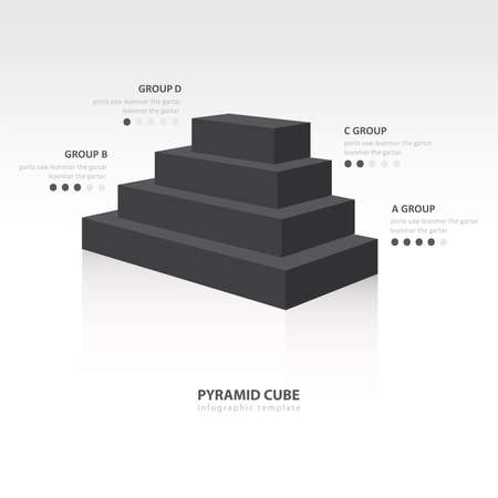 color balance: pyramid cube  infographic side view black color balance Illustration