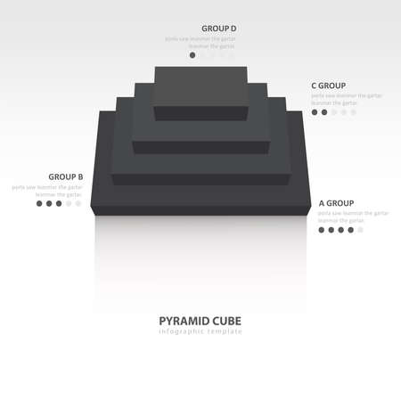 color balance: pyramid cube  infographic top view black color balance Illustration