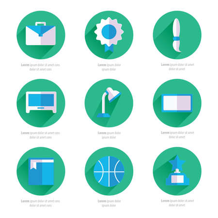 testtube: Set of flat school and education icons set 2 color