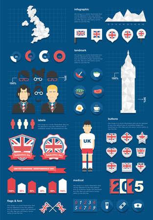 united kingdom infographic set