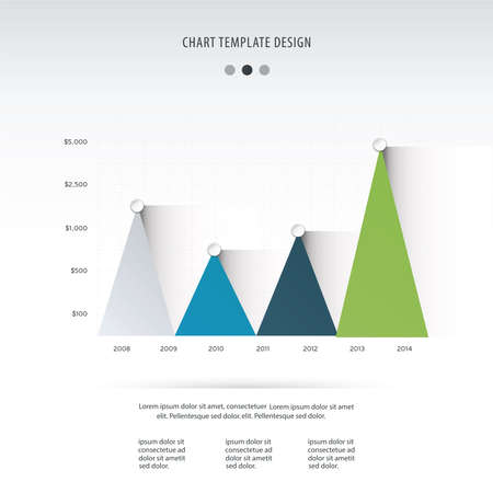 infocharts: Timetable chart with three graphs showing development over years vector illustration.