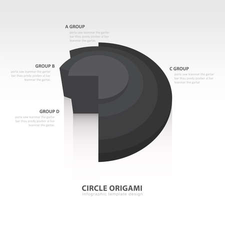 color balance: Business Infographics circle origami style black color balance Illustration