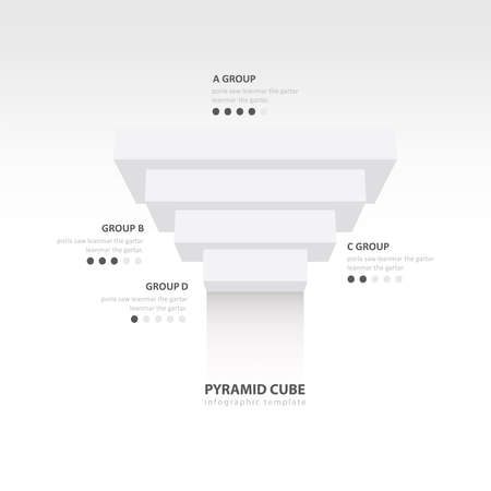 upside: pyramid cube upside down infographic template  white color balance