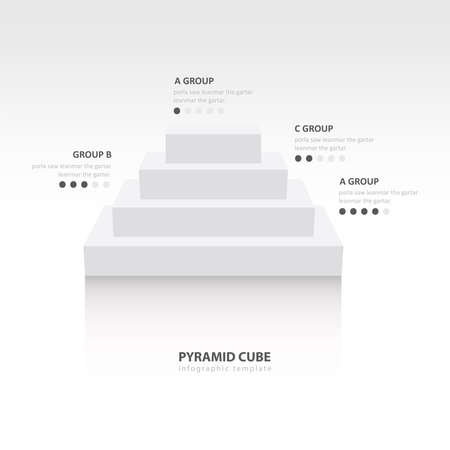 color balance: Business Infographics pyramid cube white color balance