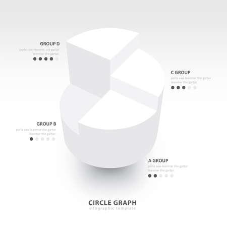 white color: Business Infographics circle graph white color balance Illustration