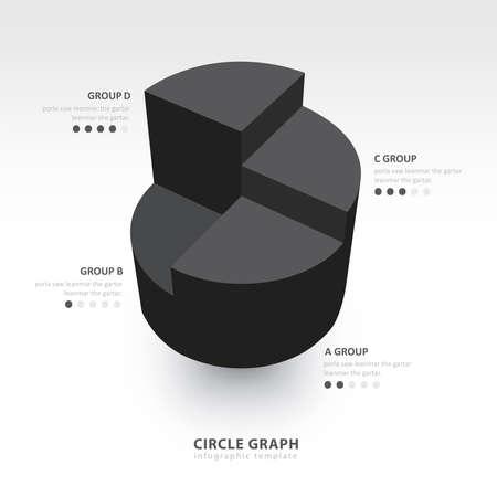 color balance: Business Infographics circle graph black color balance
