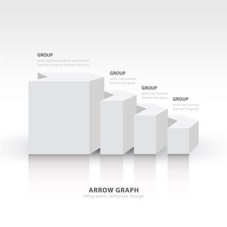color balance: 3d arrow staircase diagram business step white color balance