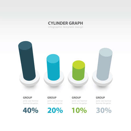 cylinder: cylinder infographic 3d graph template 4 color