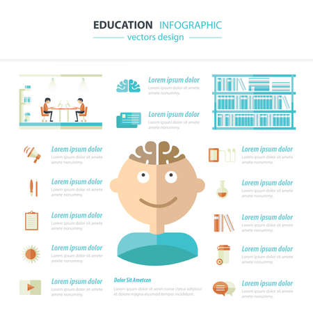contrast: Vector circle education concepts with icons infographics
