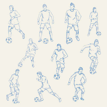 socer: Hand drawn, Sketch football, socer player action