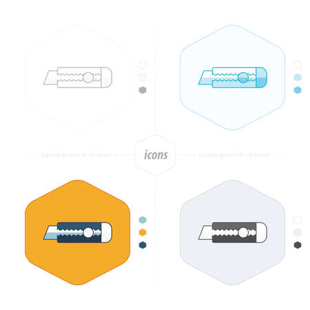 dangerous work: Utility knife icon 4 design Illustration