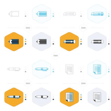 carta e penna: document icon paper, pen, pencil and Utility knife design.