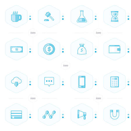 magnetization: icons 16 in 1 set blue styles