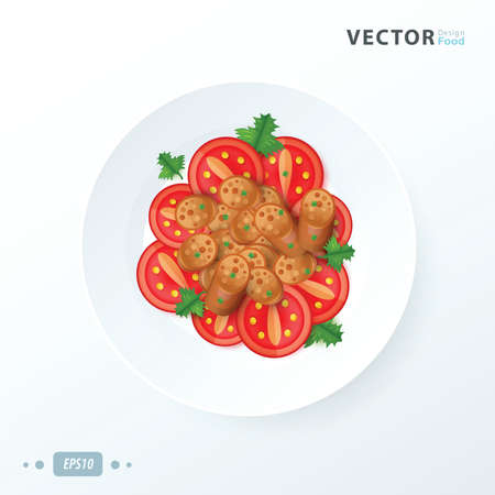 gastronome: sausage sliced food Illustration