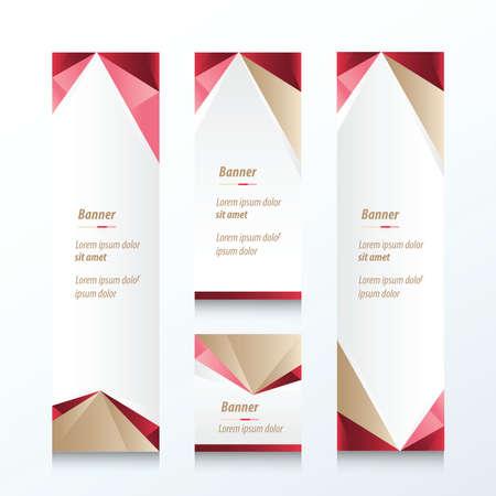 Abstrakt Dreieck Vertical Banner Braun, Rosa, Rot Standard-Bild - 49961660