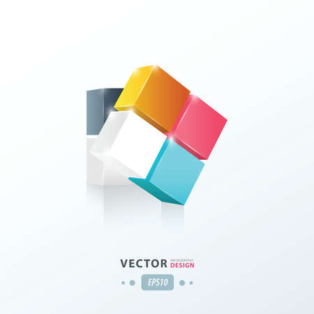 package design: 3D Cube twist  pink, blue, yellow