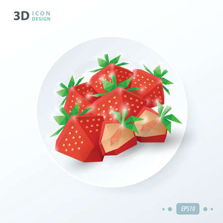 breakfast in bed: strawberries on dish Illustration
