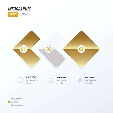quadrat: Rounded rectangles infographic Golden style Illustration