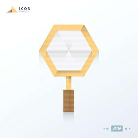 inquire: Magnify icon origami paper Illustration