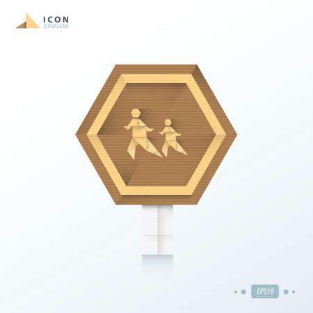 union familiar: a través del diseño del icono de papel de origami calle Vectores
