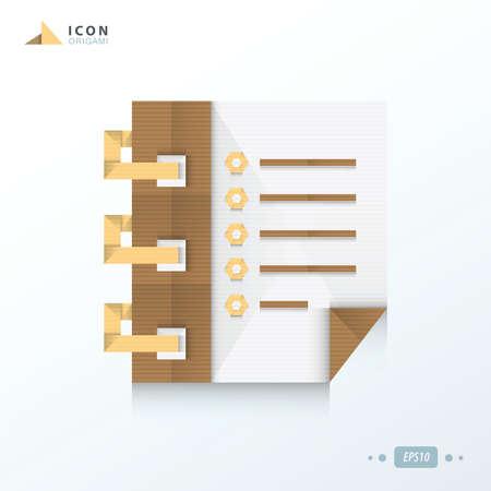 document file: Document file origami icon paper design Illustration