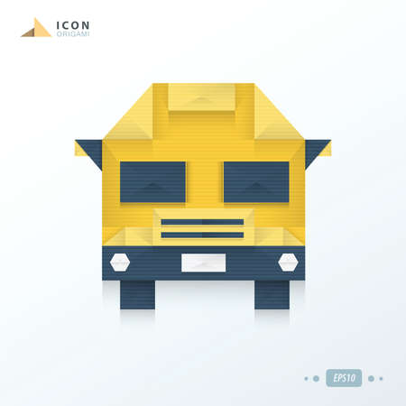 yellow schoolbus: School Bus origami icon design