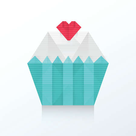 indulgence: Valentine cupcake icon origami