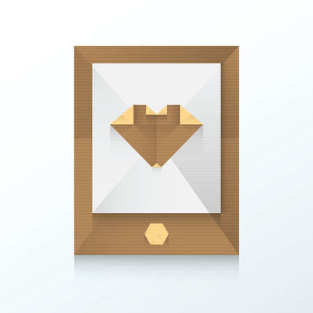 affair: smartphone and love icon origami paper Illustration